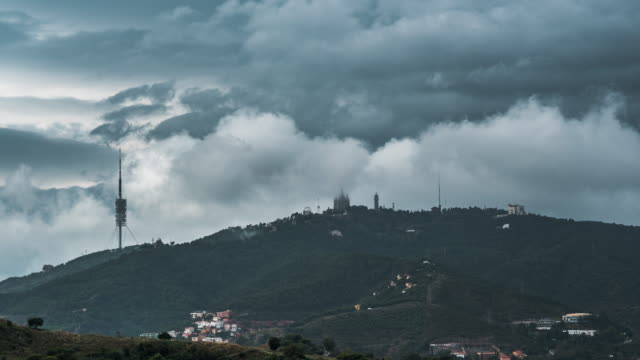 tibidabo timelapse - gothic quarter barcelona stock videos and b-roll footage