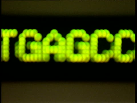 stockvideo's en b-roll-footage met ticker showing ctag dna sequence scrolling right to left sanger centre hinxton - scrollen