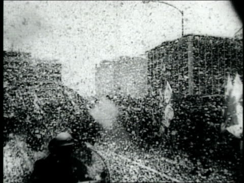 ticker tape parade for jfk / jfk with khrushchev at the vienna summit in june 1961 / jfk at dinner / jfk and jackie coming out of church in mexico... - jackie kennedy stock-videos und b-roll-filmmaterial