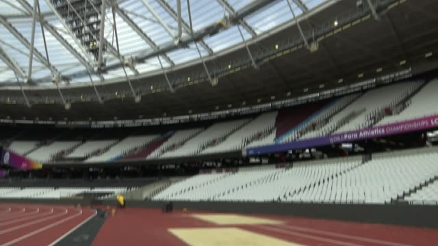 tickets go on sale for the world cup athletics championships r240717016 / queen elizabeth olympic park london stadium low angle view london stadium... - championships stock videos & royalty-free footage