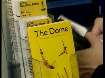 tickets go on sale; itn england: london: int anthea turner holding giant ticket for the millennium dome for photocall leaflet on the dome pull out at... - anthea turner stock videos & royalty-free footage