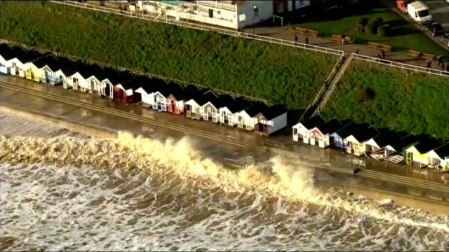 Air views of the Norfolk coastline ENGLAND Suffolk Flooded section of the coastline following storm surge waves breaking against the front at...