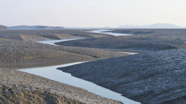 stockvideo's en b-roll-footage met ws t/l tide and mud flat at ganghwado island / incheon, south korea - getijde