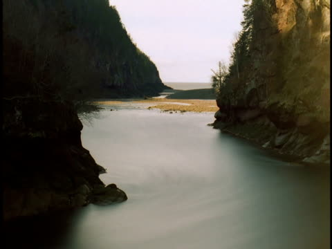 Tides ebb and flow in the Bay of Fundy.