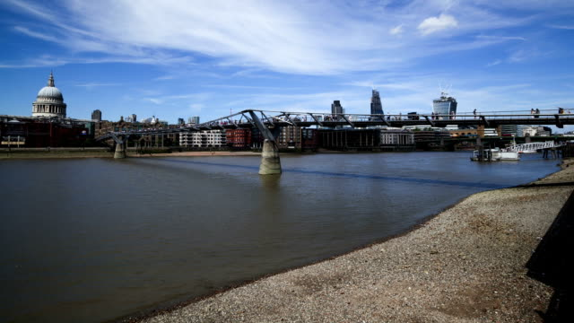 Tides River Thames at Millenium Bridge London, time lapse