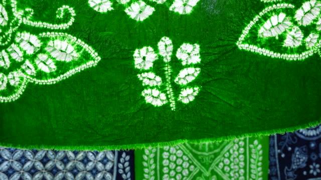 tie dye fabric, zoucheng ancient town, dali bai autonomous prefecture, yunnan, china, asia - textile stock videos & royalty-free footage