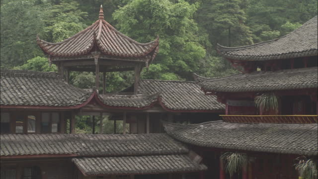 Tiered roofs of Buddhist monastery, Mount Emei, China.