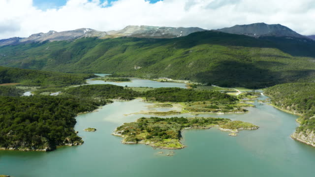 tierra del fuego national park, aerial view of bay lapataia. ushuaia, argentina - argentina stock videos & royalty-free footage