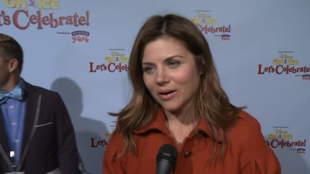 interview tiffani amber thiessen on being a part of the event her family's favorite disney character how she's spending the holidays at disney on ice... - tiffani thiessen stock videos & royalty-free footage