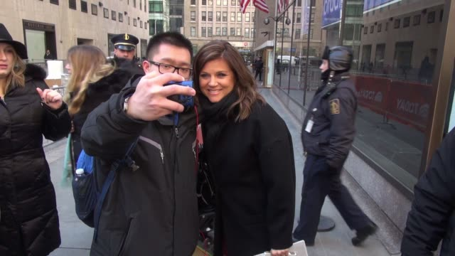tiffani thiessen at the today show signs for fans in celebrity sightings in new york - tiffani thiessen stock videos & royalty-free footage