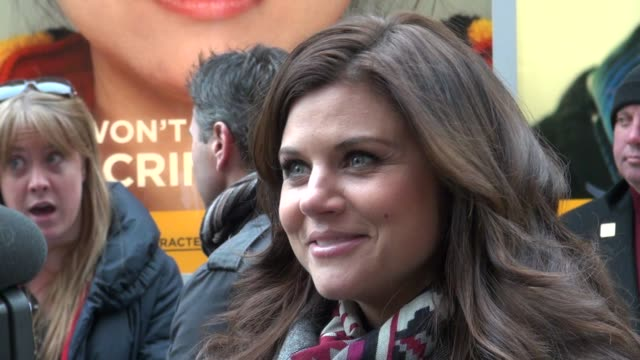tiffani thiessen at the usa network characters unite event in new york on 2/8/2012 - tiffani thiessen stock videos & royalty-free footage