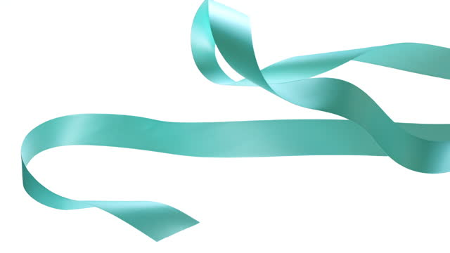 tiffany blue ribbons on white background, for celebration events and party for new year, birthday party, christmas or any holidays, waiving and curling in super slow motion and close up - ornate stock videos & royalty-free footage