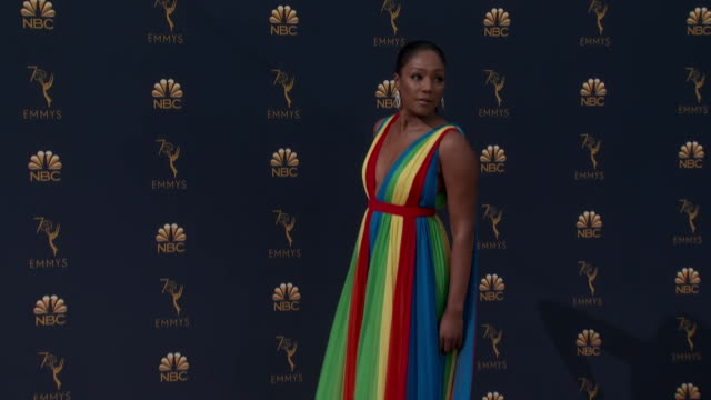 tiffany haddish, actress, on the red carpet for the 2018 emmy awards. - emmy awards stock videos & royalty-free footage