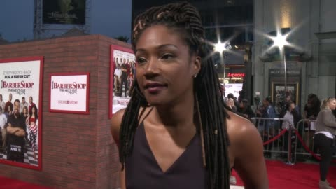 """tiffany haddish on what brings her out, talks about the carmichael show and keanu, and her favorite memory of the tcl theatre at """"barbershop: the... - premiere stock videos & royalty-free footage"""