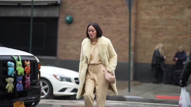 tiffany hsu wears a yellow fluffy coat, a woven bag, yellow pants, pointy shoes, a pale yellow top, during new york fashion week fall winter 2020, on... - ストリートスナップ点の映像素材/bロール