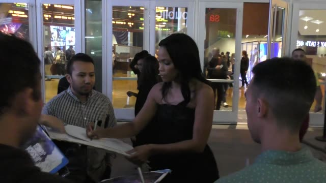 tiffany mack signs for fans outside the jessica jones season 3 premiere at arclight cinemas in hollywood in celebrity sightings in los angeles, - arclight cinemas hollywood stock videos & royalty-free footage