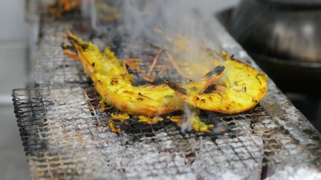 Tiger Prawns on a Traditional Charcoal Grill