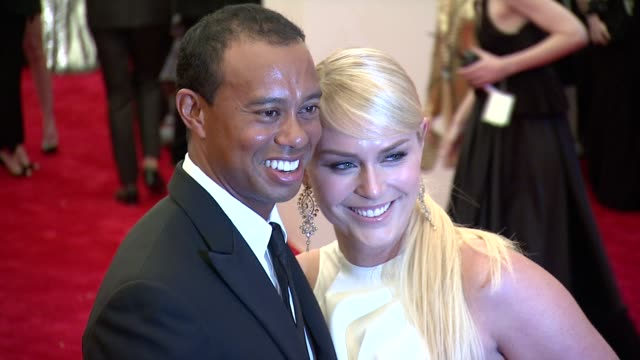 tiger woods and lindsey vonn at punk chaos to couture costume institute gala at metropolitan museum of art on may 06 2013 in new york new york - tiger woods stock videos & royalty-free footage