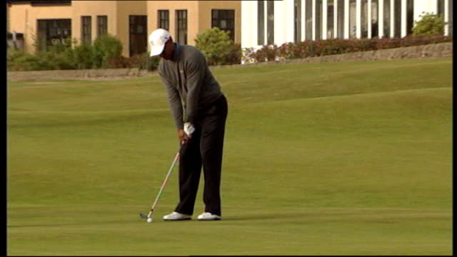 tiger woods and wife elin divorce r13071005 fife st andrews ext tiger woods taking shot at golf course - tiger woods stock videos & royalty-free footage