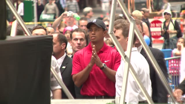 Tiger Woods at the 'Showdown on Broadway' Tiger Woods Tees Off Against Jimmy Fallon at New York NY