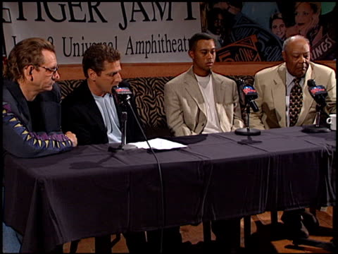 Tiger Woods at the Tiger Jam Press Conference at Planet Hollywood in Beverly Hills California on April 17 1998