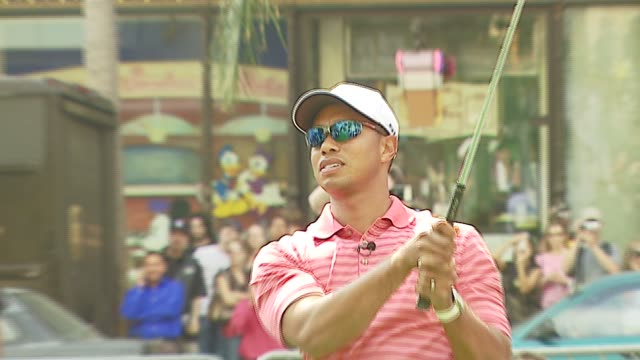 tiger woods at the tiger woods pga tour 07 launches with teeingoff at grauman's chinese theatre in hollywood california on october 10 2006 - tiger woods stock videos & royalty-free footage