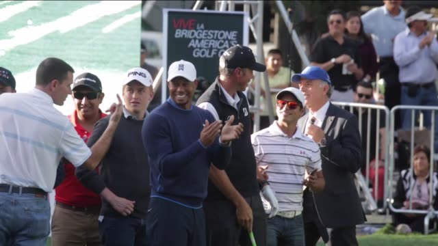tiger woods attends the golf clinic to promote bridgestone america's golf cup on october 20 2015 in mexico city mexico after that tiger woods holds a... - tiger woods stock videos & royalty-free footage