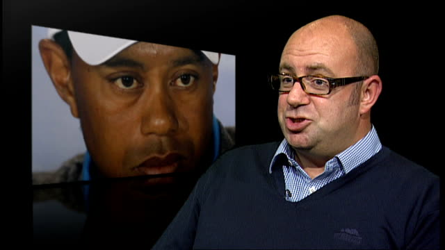 tiger woods chosen as wild card for us ryder cup team england london int michael harris interview sot - pga event stock videos and b-roll footage
