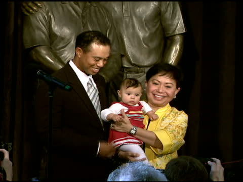tiger woods daughter sam and kultida woods at the earl woods statue dedication and tiger woods fist pump challenge launch at tiger woods learning... - tiger woods stock videos & royalty-free footage
