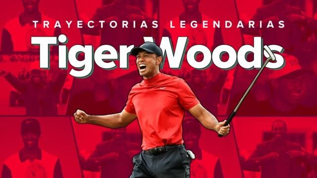 tiger woods es un golfista profesional estadounidense que compite en el pga tour y es reconocido como uno de los mejores en jugar el deporte en la... - pgaイベント点の映像素材/bロール