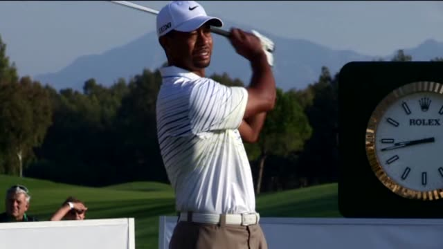tiger woods of the usa in action against rory mcilroy of northern ireland on day three of the turkish airlines world golf final on october 11 2012 in... - tiger woods stock videos & royalty-free footage