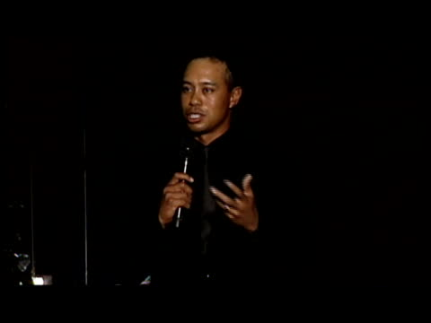 Tiger Woods thanks the sponsors and introduces Bon Jovi at the Tiger Jam X Presented by ATT at Mandalay Bay Resort Casino in Las Vegas Nevada on May...