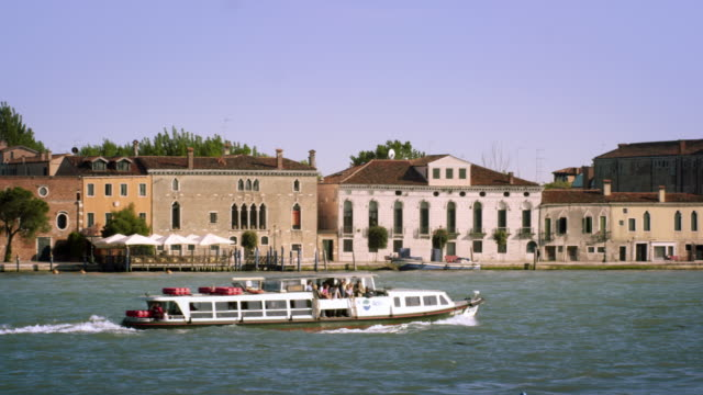 Tight panning shot of the Giudecca from across the canal.