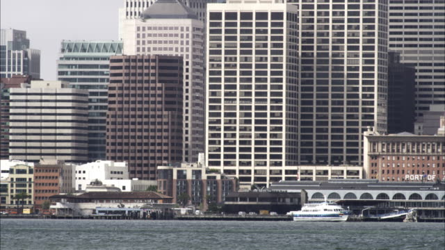 Tight panning shot of the San Francisco downtown waterfront area.