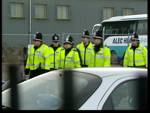 Tight security at Cardiff/ hooliganism WALES Cardiff Ninian Park Line of police on duty outside ground for Cardiff match against Peterborough MS...