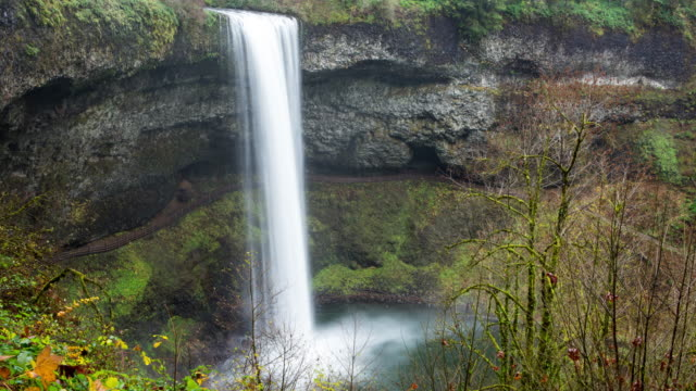 Tight shot of timelapse shot of a waterfall in Silver Falls State Park, Oregon.