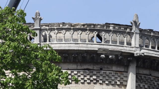 tight shot on the eastern facade of Notre Dame cathedral the roof does not exist anymore Paris View of the cathedral NotreDame in Paris and the...