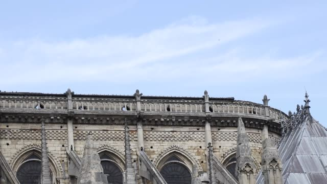 tight shot on the South facade of Notre Dame cathedral the roof does not exist anymore Paris View of the cathedral NotreDame in Paris and the...