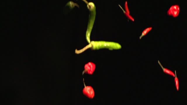 a tight slow motion shot of hot peppers falling in front of a black background on january 6 2014 hot peppers on january 06 2014 in new york new york - peperone video stock e b–roll