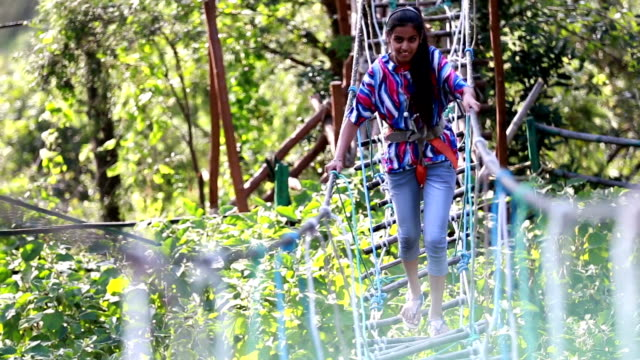 tightrope walking in beautiful nature - tightrope walking stock videos & royalty-free footage