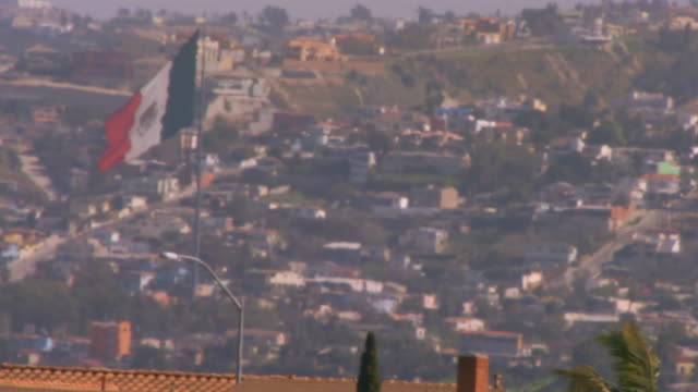tijuana, mexicoflag of mexico flying over city - fan palm tree stock videos & royalty-free footage