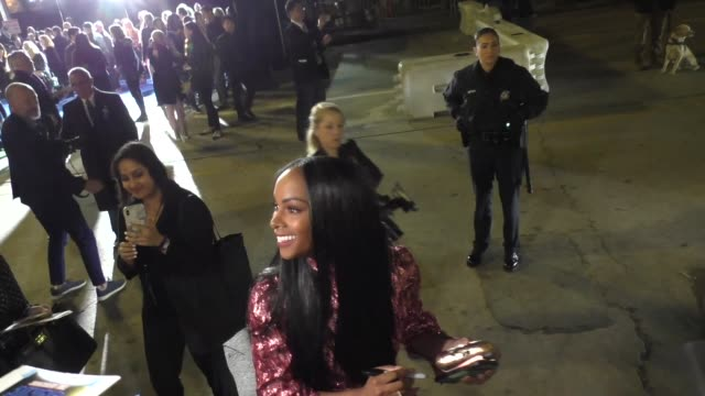 tika sumpter signs for fans outside a special screening of sonic the hedgehog at regency village theatre in westwood in celebrity sightings in los... - westwood neighborhood los angeles stock videos & royalty-free footage