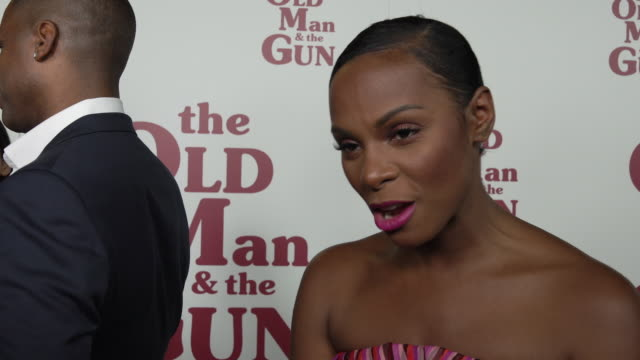 """stockvideo's en b-roll-footage met tika sumpter talks about the plot, her character, working with the cast, working with casey, audience takeaways at """"the old man & the gun"""" new york... - interview ruw materiaal"""