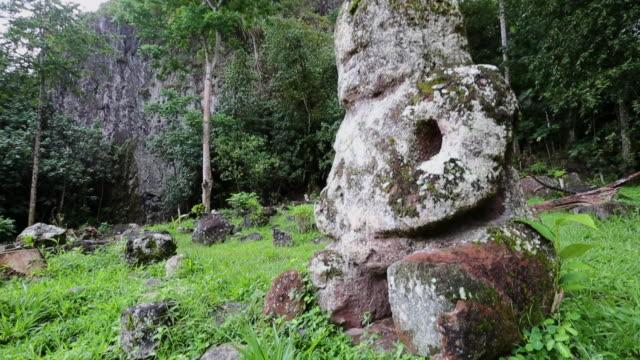 tiki statue on hiva oa - polynesia stock videos & royalty-free footage