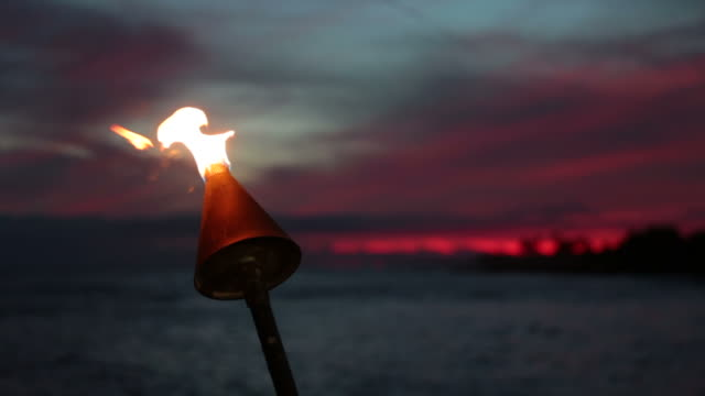 tiki torch flames on tropical beach at sunset, kauai, hawaii - hawaii islands stock videos & royalty-free footage