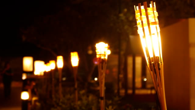 tiki torch - flaming torch stock videos & royalty-free footage