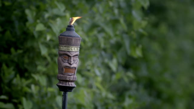 tiki torch with scary face and flame at the top buring in front of nice green foliage. slow motion.  good for graphics. - statue stock videos & royalty-free footage