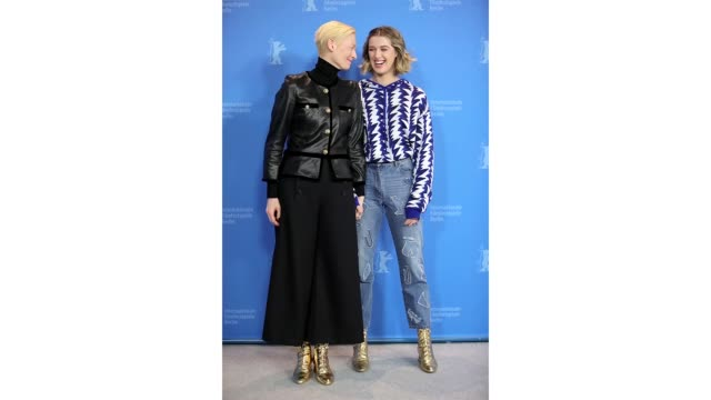 Tilda Swinton and her daughter Honor SwintonByrne pose at the 'The Souvenir' photocall during the 69th Berlinale International Film Festival Berlin...