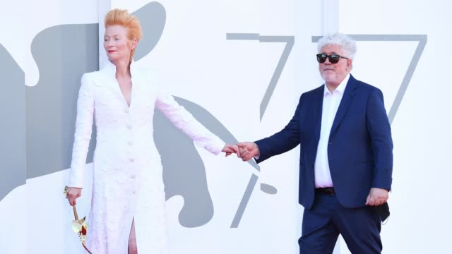 tilda swinton and pedro almodovar walk the red carpet ahead of the movie the human voice and quo vadis aida at the 77th venice film festival at on... - gif stock videos & royalty-free footage