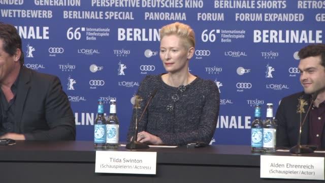 Tilda Swinton at 'Hail Caesar' Press Conference 66th Berlin International Film Festival at Grand Hyatt Hotel on February 11 2016 in Berlin Germany